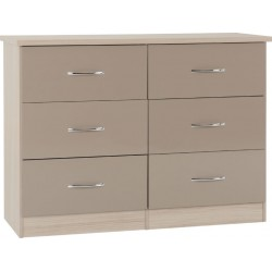 Nevada 6 Drawer Chest Oyster Gloss/Light Oak Effect Veneer