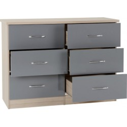 Nevada 6 Drawer Chest Grey Gloss/Light Oak Effect Veneer
