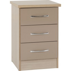 Nevada 3 Drawer Bedside Chest Oyster Gloss/Light Oak Effect Veneer