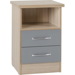 Nevada 2 Drawer Bedside Grey Gloss/Light Oak Effect Veneer