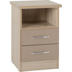 Nevada 2 Drawer Bedside Oyster Gloss/Light Oak Effect Veneer