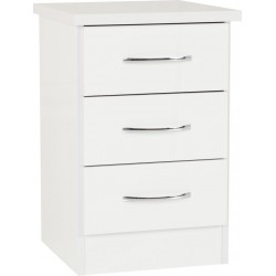 Nevada 3 Drawer Bedside White Gloss