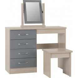 Nevada 4 Drawer Dressing Table Set Grey Gloss/Light Oak Effect Veneer