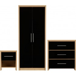 Seville Bedroom Set Black High Gloss/Light Oak Effect Veneer