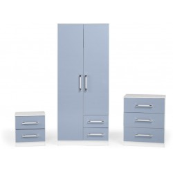Jasper Bedroom Set White/Blue Gloss