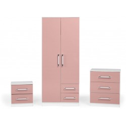 Jasper Bedroom Set White/Pink Gloss