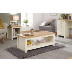 LANCASTER COFFEE TABLE WITH SHELF CREAM
