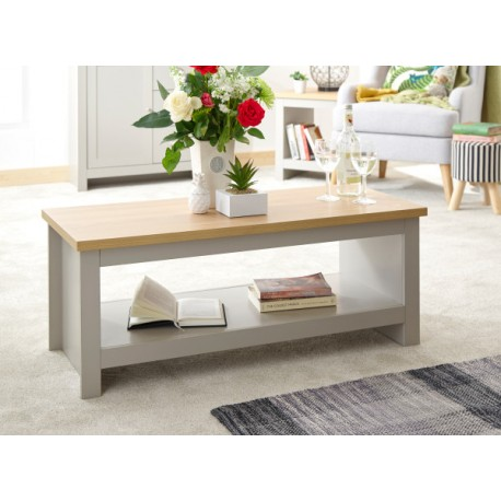 LANCASTER COFFEE TABLE WITH SHELF GREY