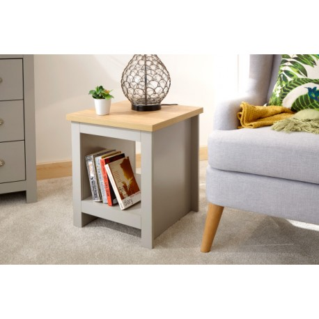 LANCASTER SIDE TABLE WITH SHELF GREY