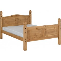 "Corona 4'6"" Bed High Foot End Distressed Waxed Pine Brixton Beds"