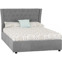 "Camden Plus 4'6"" Storage Bed Grey Fabric"