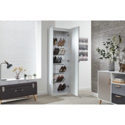 180CM MIRRORED SHOE CABINET WHITE