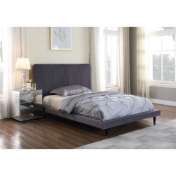 """Shannon 4'6"""" Bed Grey Fabric"""