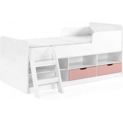Jasper Low Sleeper Bed White/Pink Gloss Brixton Beds