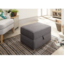 DAUPHINE SQUARE STORAGE FOOTSTOOL CHARCOAL GREY HOPSACK