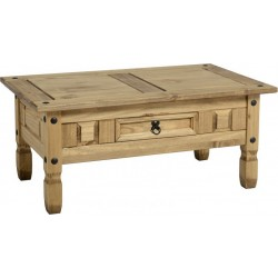 Corona 1 Drawer Coffee Table Distressed Waxed Pine
