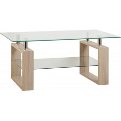 Milan Coffee Table Sonoma Oak Effect Veneer/Clear Glass