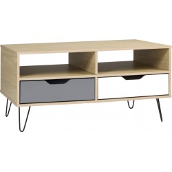 Bergen 2 Drawer Coffee Table Oak Effect/White/Grey