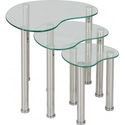 Cara Nest of Tables Clear Glass/Silver- Brixton Beds