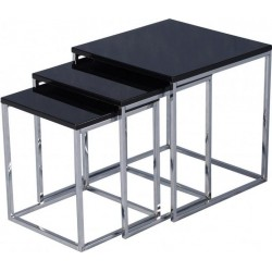 Charisma Nest Of Tables Black Gloss/Chrome- Brixton Beds