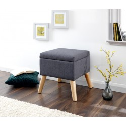ALEXANDRA STORAGE OTTOMAN SMALL CHARCOAL