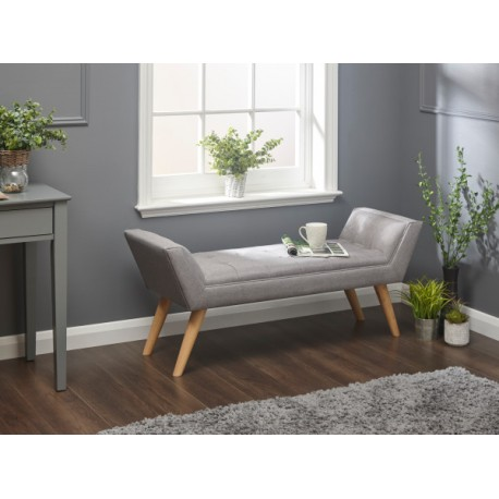 MILAN UPHOLSTERED BENCH GREY HOPSACK