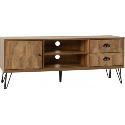 Ottawa 1 Door 2 Drawer TV Unit Medium Oak Effect/Black - Brixton Beds