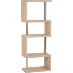 Charisma 5 Shelf Unit Light Sonoma Oak Effect Veneer/Chrome - Brixton Beds