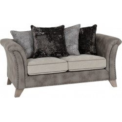Grace 2 Seater Sofa Silver/Grey Fabric - Brixton Beds