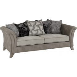 Grace 3 Seater Sofa Silver/Grey Fabric Brixton Beds