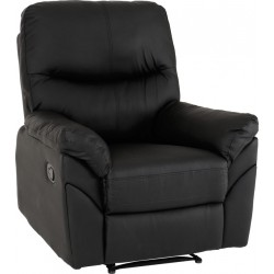 Capri Reclining Chair Black Faux Leather
