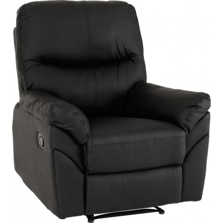 Capri Reclining Chair Black Faux Leather - Brixton Beds.