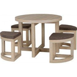 Cambourne Stowaway Dining Set Sonoma Oak Effect Veneer/Brown Linen Fleck