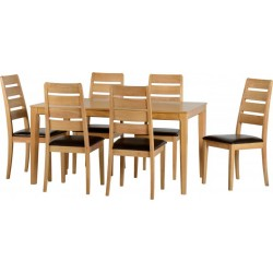 Logan Large Dining Set Oak Varnish/Brown Faux Leather- Brixton Beds