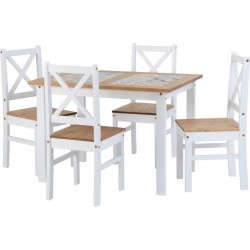 Salvador 1+4 Tile Top Dining Set White/Distressed Waxed Pine Brixton Beds