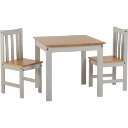 Ludlow 1+2 Dining Set Grey/Oak Lacquer- Brixton Beds