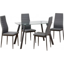 Abbey Dining Set Clear Glass/Grey/Grey Faux Leather - Brixton Beds