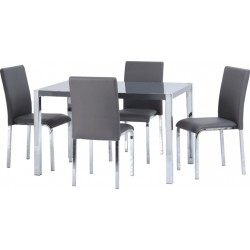 Charisma 4' Dining Set Grey Gloss/Chrome/Grey Faux Leather
