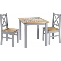 Salvador 1+2 Tile Top Dining Set Slate Grey/Distressed Waxed Pine