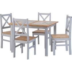 Salvador 1+4 Tile Top Dining Set Slate Grey/Distressed Waxed Pine