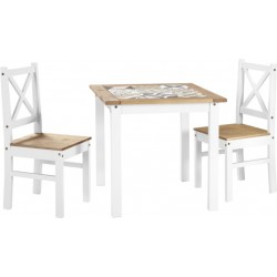 Salvador 1+2 Tile Top Dining Set White/Distressed Waxed Pine