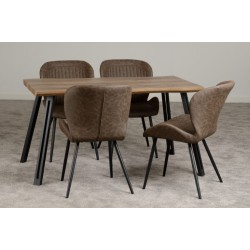 Quebec Wave Edge Dining Set Medium Oak Effect/Black/Brown Faux Leather