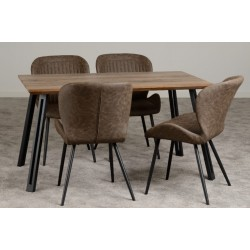 Quebec Straight Edge Dining Set Medium Oak Effect/Black/Brown Faux Leather