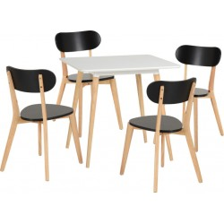 Julian Dining Set White/Natural/Black