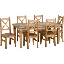 Salvador 1+6 Tile Top Dining Set Distressed Waxed Pine