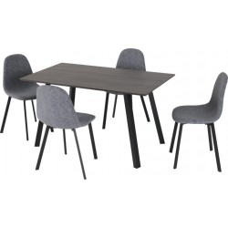 Berlin Dining Set Black Wood Grain/Black/Dark Grey Fabric