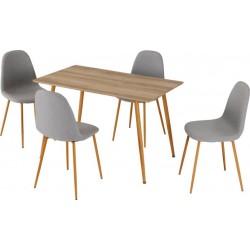 Barley Dining Set Oak Veneer/Oak Effect/Grey Fabric