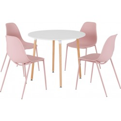 Lindon Dining Set White/Natural Oak/Pink