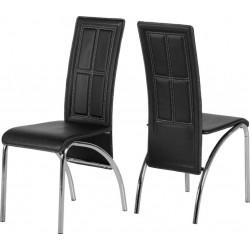 A3 Chair (2 Per Carton) Black Faux Leather/Chrome