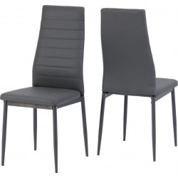 Abbey Chair Grey Faux Leather